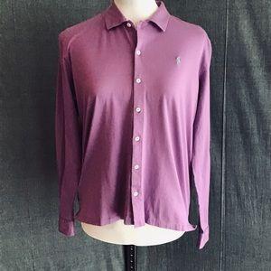Ralph Lauren Lavender Italian Jersey Button Up Lg